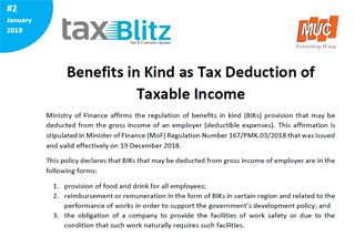 Benefits in Kind as Tax Deduction of Taxable Income