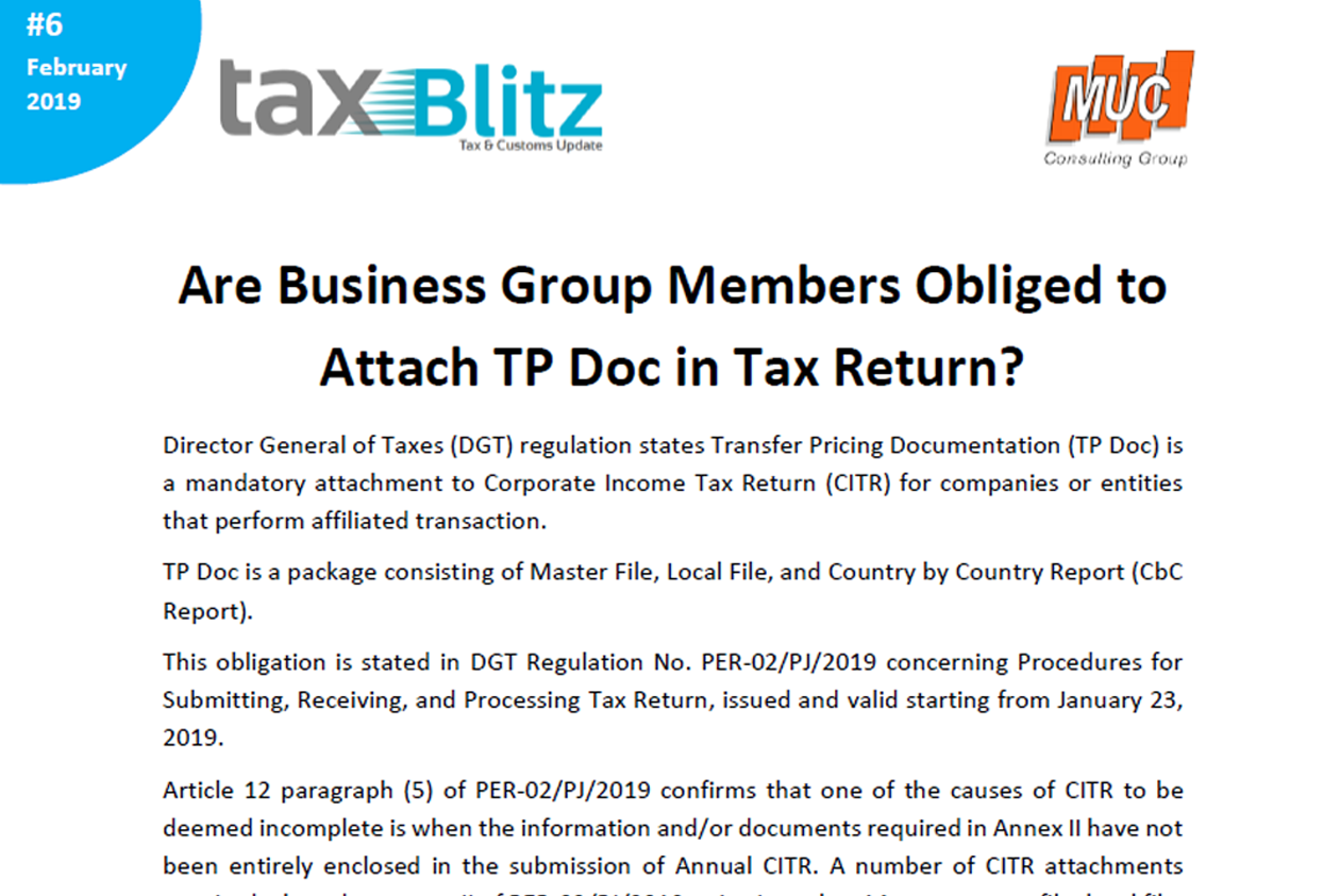 Are Business Group Members Obliged to Attach TP Doc in Tax Return?