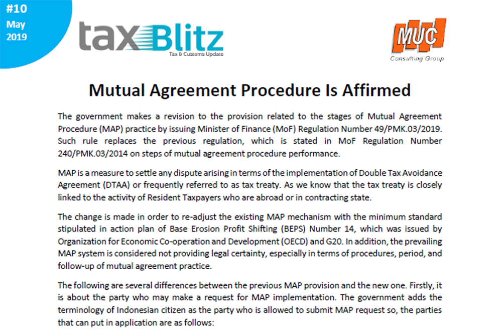 Mutual Agreement Procedure Is Affirmed