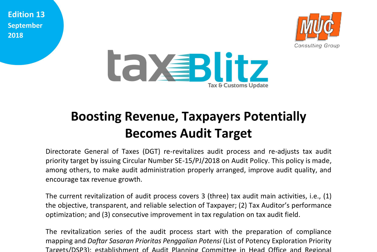 Boosting Revenue, Taxpayers Potentially Becomes Audit Target