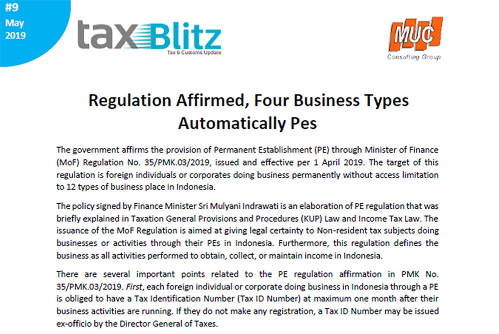 Regulation Affirmed, Four Business Types Automatically PEs