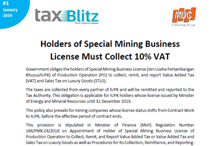 Holders of Special Mining Business License Must Collect 10% VAT