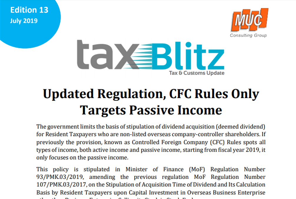 Updated Regulation, CFC Rules Only Targets Passive Income
