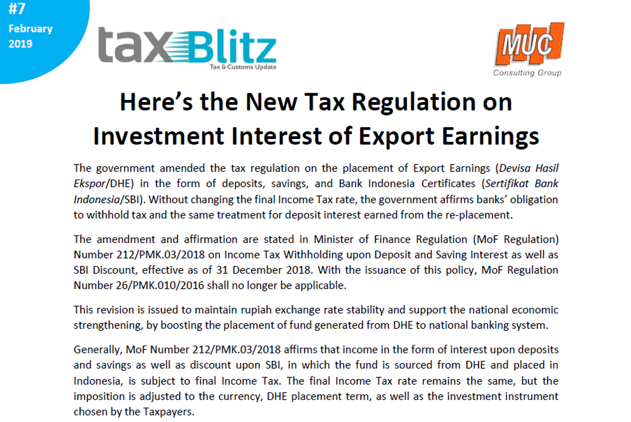 Here's the New Tax Regulation on Investment Interest of Export Earnings
