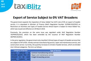 Export of Service Subject to 0% VAT Broadens