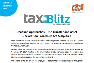 Deadline Approaches, Title Transfer and Asset Declaration Procedure Are...