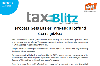 Process Gets Easier, Pre-audit Refund Gets Quicker