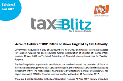 Account Holders of IDR1 Billion or above Targeted by Tax Authority